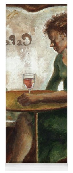 Woman In A Paris Cafe Yoga Mat