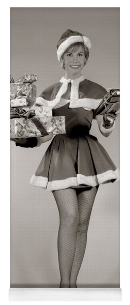 Woman In Sexy Santa Outfit, C.1960s Yoga Mat