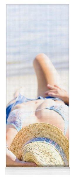 Woman Sunbathing Yoga Mat