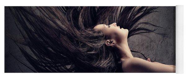 Woman Waving Long Dark Hair Yoga Mat