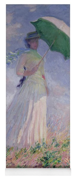 Woman With A Parasol Turned To The Right Yoga Mat