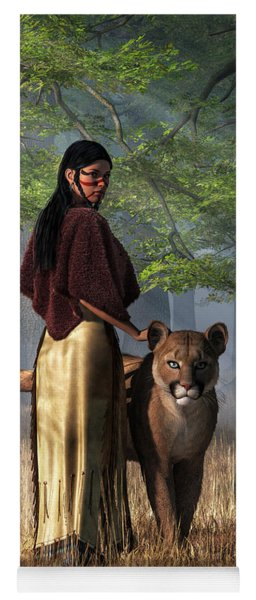 Yoga Mat featuring the digital art Woman With Mountain Lion by Daniel Eskridge