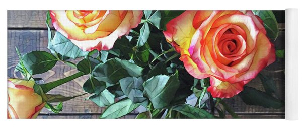 Wood And Roses Yoga Mat