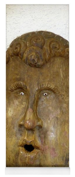 Yoga Mat featuring the photograph Wood Carved Face by Francesca Mackenney