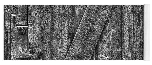 Wood Door With Handle Detail Yoga Mat