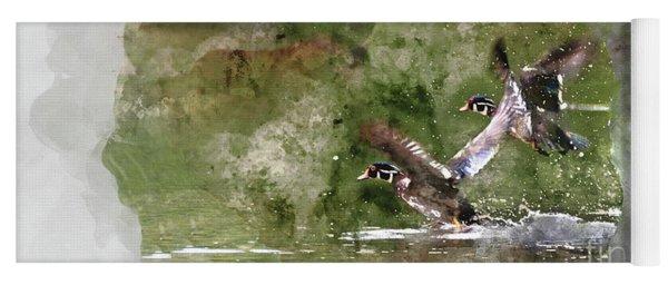 Wood Ducks In Flight Yoga Mat