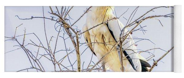 Wood Stork Sitting In A Tree Yoga Mat