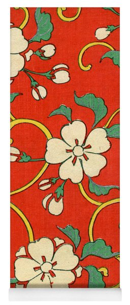 Woodblock Print Of Apple Blossoms Yoga Mat