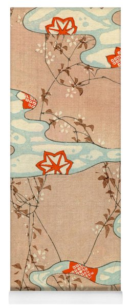 Woodblock Print Of Fall Leaves Yoga Mat