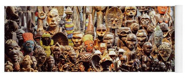 Wooden African Carvings Yoga Mat
