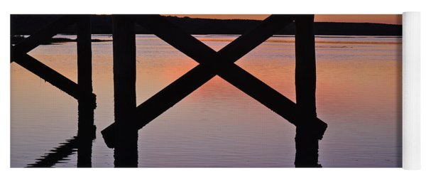 Wooden Bridge Silhouette At Dusk Yoga Mat