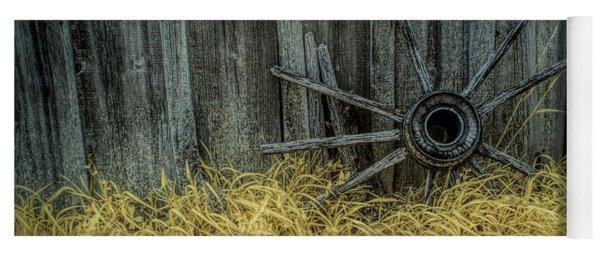 Wooden Wagon Wheel Spokes In Infrared Yoga Mat