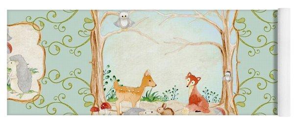 Woodland Fairy Tale - Aqua Blue Forest Gathering Of Woodland Animals Yoga Mat