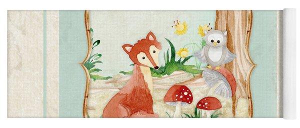Woodland Fairy Tale - Fox Owl Mushroom Forest Yoga Mat
