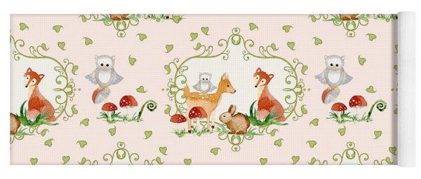 Woodland Fairy Tale - Pink Sweet Animals Fox Deer Rabbit Owl - Half Drop Repeat Yoga Mat