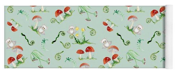 Woodland Fairy Tale - Red Mushrooms N Owls Yoga Mat