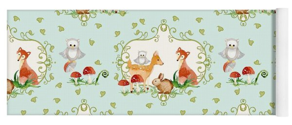 Woodland Fairy Tale - Sweet Animals Fox Deer Rabbit Owl - Half Drop Repeat Yoga Mat