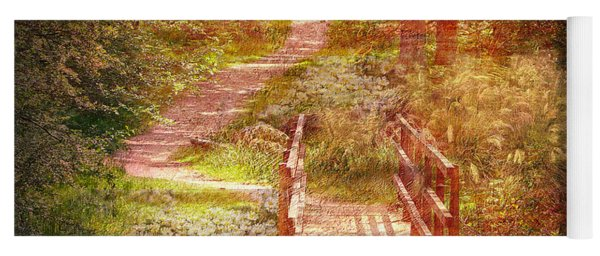 Woodland Path With Flowers Yoga Mat