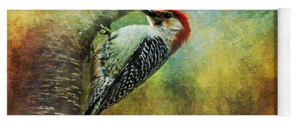 Woodpecker On Cherry Tree Yoga Mat