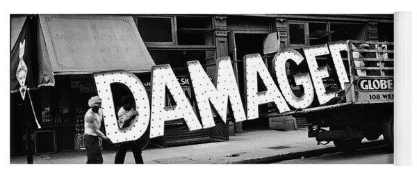 Workmen Hauling Damaged Sign Walker Evans Photo New York City 1930 Color Added 2008 Yoga Mat
