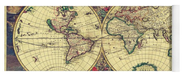 World Map 1689 Yoga Mat