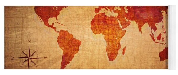 World Map Grunge Style Yoga Mat