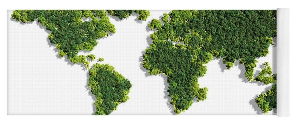 World Map Made Of Green Trees Yoga Mat