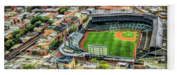 Wrigley Field Chicago Skyline Yoga Mat