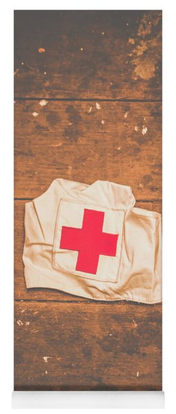 Ww2 Nurse Cap Lying On Wooden Floor Yoga Mat