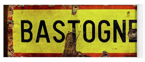 Wwii Bastogne Town Sign Yoga Mat