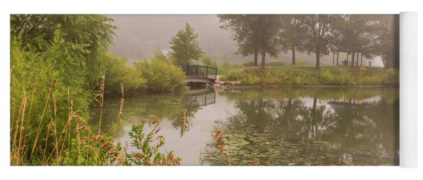 Yoga Mat featuring the photograph Misty Pond Bridge Reflection #5 by Patti Deters