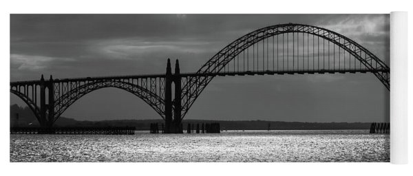 Yaquina Bay Bridge Black And White Yoga Mat