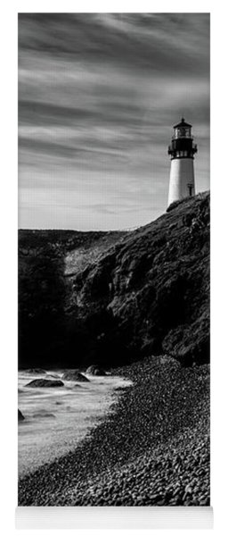 Yaquina Head Lighthouse 1 Black And White Yoga Mat