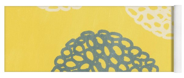 Yellow And Gray Garden Bloom Yoga Mat