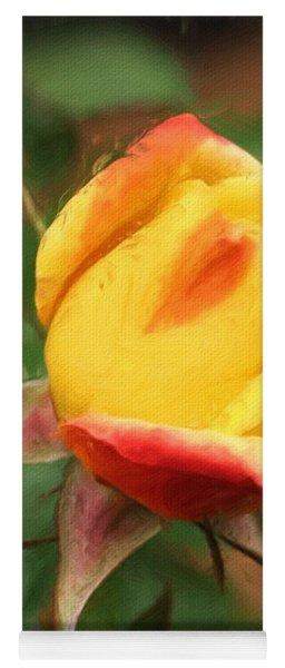 Yellow And Orange Rosebud Yoga Mat