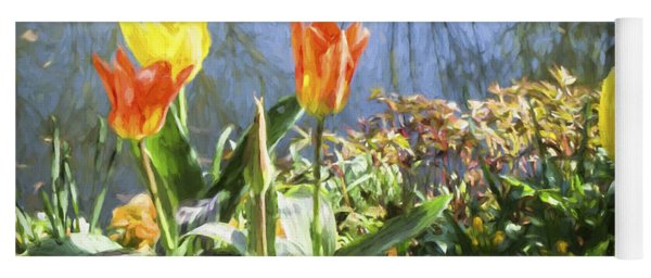 Yellow And Orange Tulips In Giverny  Yoga Mat