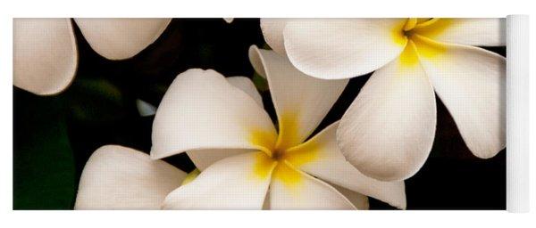 Yellow And White Plumeria Yoga Mat