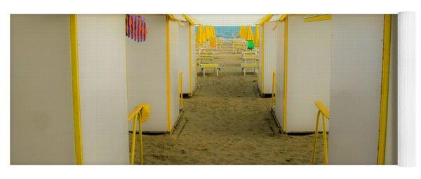 Yellow Beach Cabanas Yoga Mat