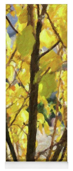 Yellow Branches And Leaves Yoga Mat