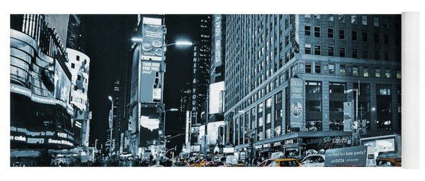 Yellow Broadway At Night - Nyc Yoga Mat