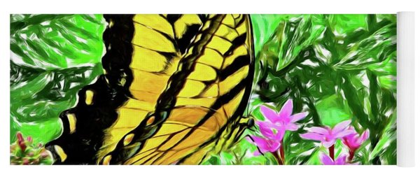 Yellow Butterfly On Pinks Yoga Mat