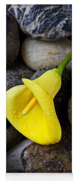 Yellow Calla Lily On Rocks Yoga Mat