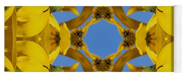 Yellow Coneflower Kaleidoscope Yoga Mat
