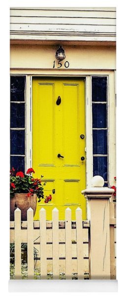 Yoga Mat featuring the photograph Yellow Door by Kendall McKernon