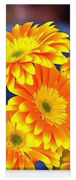 Yellow Flowers In Thick Paint Yoga Mat