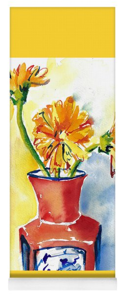 Yellow Gerbera Daisies In A Red And Blue Delft Vase Yoga Mat
