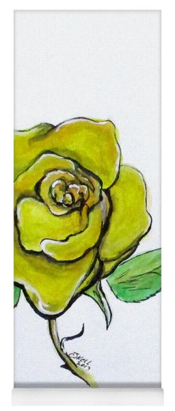 Yellow-green Rose Yoga Mat