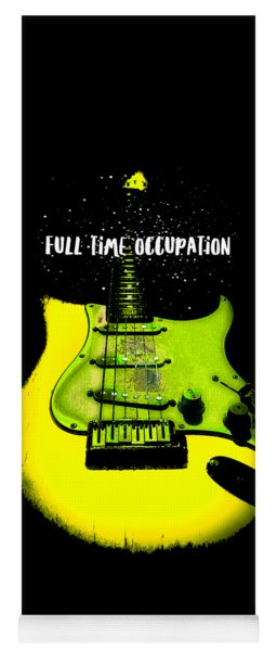 Yellow Guitar Full Time Occupation Yoga Mat