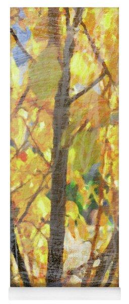 Yellow Leaves Wash Yoga Mat