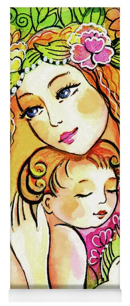 Yoga Mat featuring the painting Yellow Madonna With Child by Eva Campbell